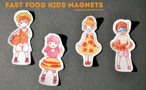 Fast Food Kids Family - MAGNETS FOR SALE ~ by Akimiya