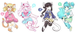 Set Price School Girl Cats (CLOSED) by FavfiAdopts