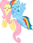 Singing Fluttershy and Rainbow dash vector by rhubarb-leaf