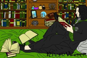 Harry Potter_Drawing - Young Severus' Study-time by riverwitch8616