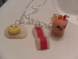 Breakfast foods necklace by cobalt-bow