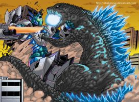 Commission Godzilla vs Garuda by DarkerEve