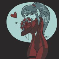 Samus and a baby Metroid by momentaifey