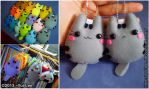Felt craft: Pusheen the cat chibi all color by Yui-Lee