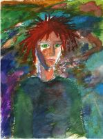 Abstract Painting of a Lady with Red Hair by Poorartman