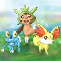 Chespin, Froakie and Fennekin by Gkenzo