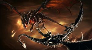 Deathwing vs. Alduin by Jorsch
