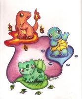 Kanto Starters by MusicMew