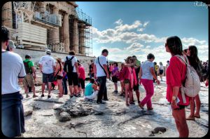 Parthenon under red observer adoration by Rikitza