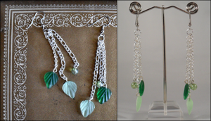 3-Chain Leaf Dangle Earrings by oh-sew-fun