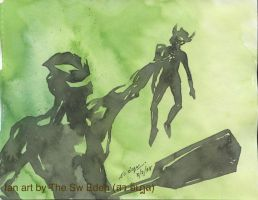 Ultraman Belial and Ultraman Taro by sw-eden
