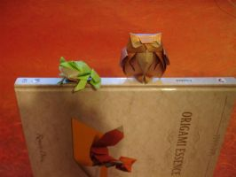 Owl and Bullfrog by origami-artist-galen