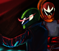 Protoman and Sniper Joe by AnnaKlava