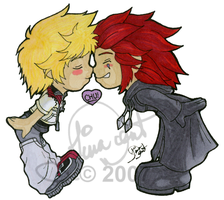 KH - Axel x Roxas sticker by TheQueenofKawaii