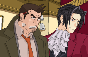 Edgeworth and Gumshoe by Hughesation