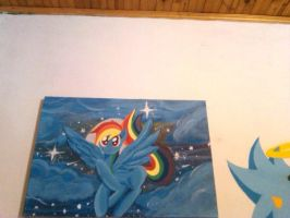 RAINBOW DASH PAINTING!! IN MY WALL by zeronitan