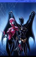batgirl spidergirl Campbell Garner color vic55b by vic55b