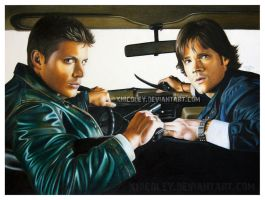 Sam and Dean in Colored Pencil by xnicoley