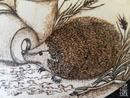Hedgehog 2 - woodburning by HiranoKarasu