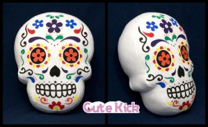 Sugar Skull Pillow by cutekick