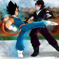 DBZ Battle-of-OCs Vegeta Junior vs Copyken by Rainstar-123
