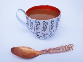Paper cup and copper spoon by PinkPixieDragon