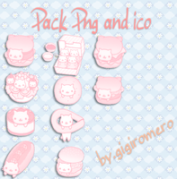 Pack cat pink ico and png by GigiRomero