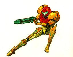 Samus Aran color pencil by schalastar