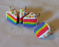 Rainbow Cake Charms by ChibiBeeBee