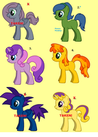 Pony Adoptable set 3 -FREE- by CrunchyButterToast
