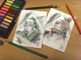 Link And Ganondorf Skethes by C0y0te7