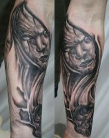 Horror Arm Sleeve Skull Tat by 2Face-Tattoo