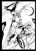 SPIDERMAN AND BLACK CAT by MC Wyman Ink by me by jbellcomic