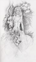 woman and lions by llewllaw