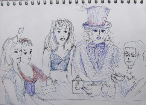 Dr Sketchy's Tea Party by pathlost