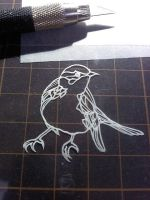 coffee brake paper cutting -bird- by Thessatoria