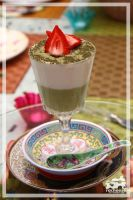 Green Tea Mousse in a glass by racheese