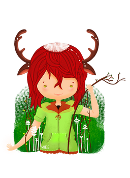 Jade the reindeer [Commission] by Wie-e