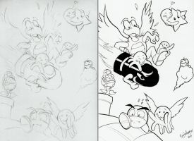 Inktober 2014 #4 Bloops Vs. Koopa Army by aaronmizuno