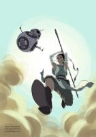 Rey and BB-8 Leaping into the Frey by McThrill