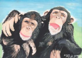 Chimpanzees by fireinda
