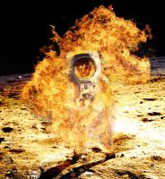 Astronaut on Fire by Robotlick