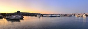 Morning in Athens sea port by derSchnaps