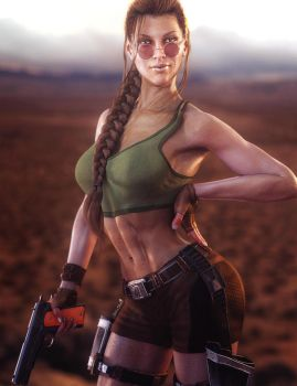 Victoria 8 as Lara Croft, Tomb Raider Game Fan-Art by shibashake