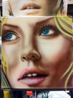 Elisha Cuthbert - Airbrush on Canvas by DowneyJr