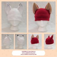 Red and Arctic Fox Kitsune Hats by cutekick