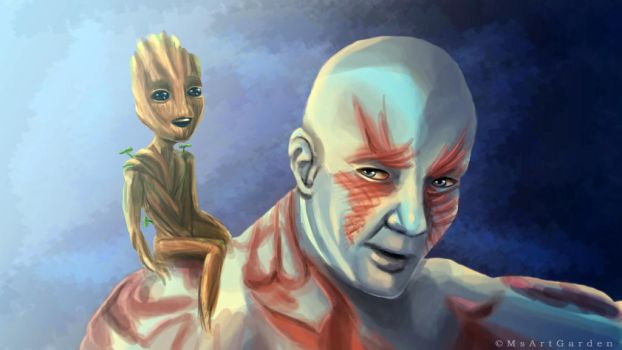 Drax and Groot by MsArtGarden