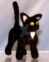 Needle Felted Black Cat II by The-GoblinQueen