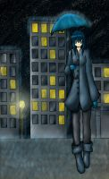 Anime Rain Cityscape by Inlinverst