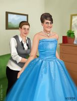 Zipping her brother's dress by Eves-Rib